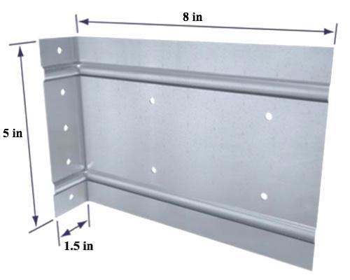 1 1/2 in x 5 in x 8 in x 14 Gauge TSN StiffClip LB Series Clip