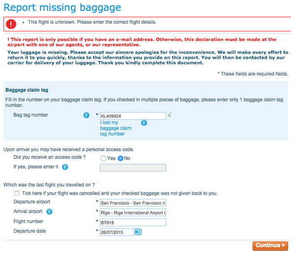How to report lost baggage