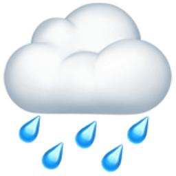 Cloud with Rain Emoji (U+1F327) 10 Rain Emoji