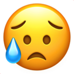 disappointed but relieved face emoji u1f625