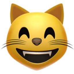 Grinning Cat Face with Smiling Eyes Emoji (U+1F638)