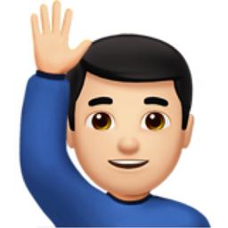 man raising hand light skin tone emoji u 1f64b u 1f3fb u 200d u