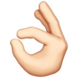 OK Hand: Light Skin Tone Emoji (U+1F44C, U+1F3FB)  Okay