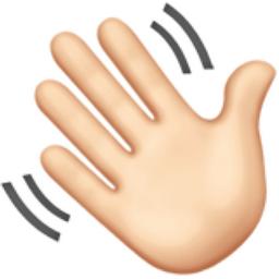 Waving Hand: Light Skin Tone Emoji (U+1F44B, U+1F3FB)