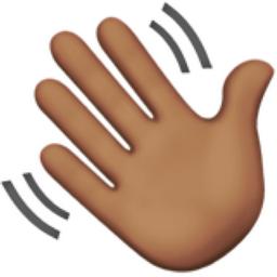 Waving Hand: Medium Skin Tone Emoji (U+1F44B, U+1F3FD)