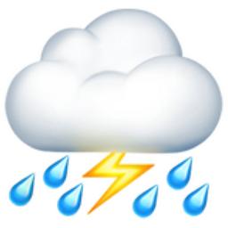 Cloud with Lightning and Rain Emoji (U+26C8)