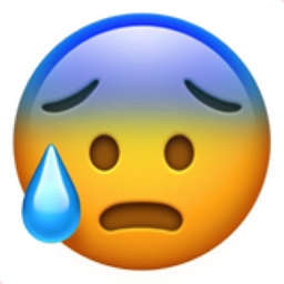 Face with Open Mouth and Cold Sweat Emoji (U+1F630)