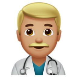 Man Health Worker: Medium-Light Skin Tone Emoji (U+1F468, U+