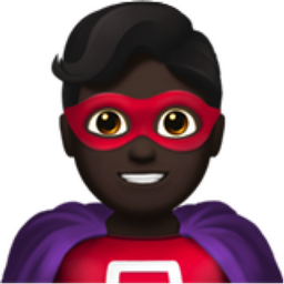 Man Superhero: Dark Skin Tone Emoji (U+1F9B8, U+1F3FF, U+