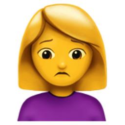 Woman Frowning Emoji (U+1F64D, U+200D, U+2640, U+FE0F)