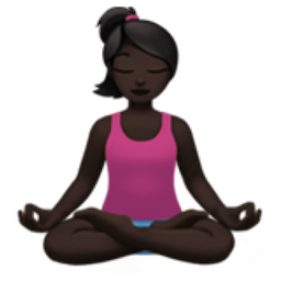 woman in lotus position dark skin tone emoji u1f9d8 u