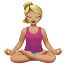 Woman in Lotus Position: Medium-Light Skin Tone Emoji (U+1F9D8, U+