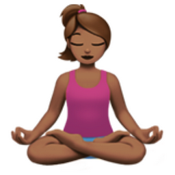 Woman in Lotus Position: Medium Skin Tone Emoji (U+1F9D8, U+1F3FD, U