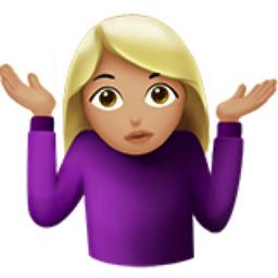 Woman Shrugging: Medium-Light Skin Tone Emoji (U+1F937, U+1F3FC, U ...