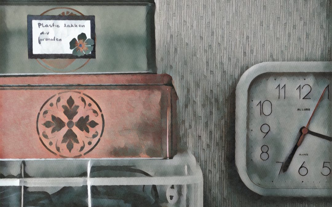 {sunday} Jan Uiterwijk ~ Still life with boxes and clock
