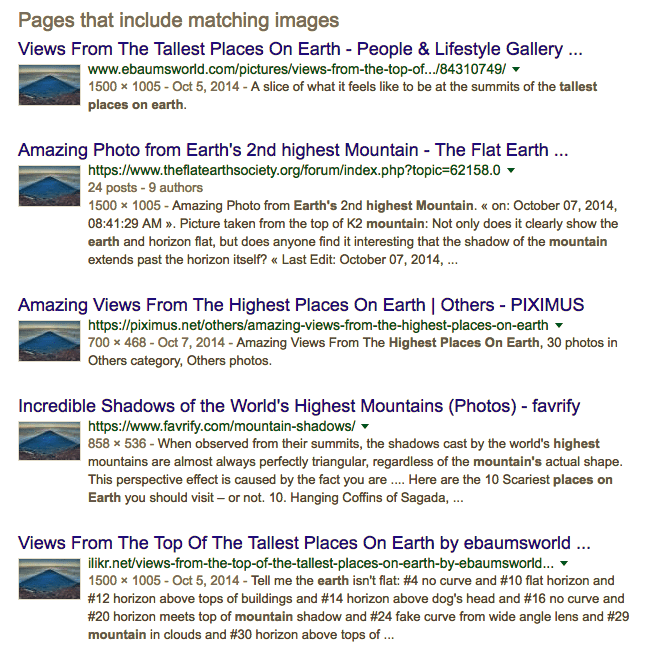 Google Reverse Image Search showed 2,25,00,000 results of Kris Boorman's Mt. Fuji image being used on different web pages across the internet.