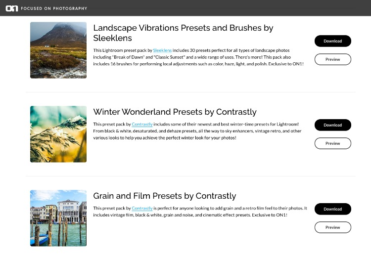 Landscape vibrations presets