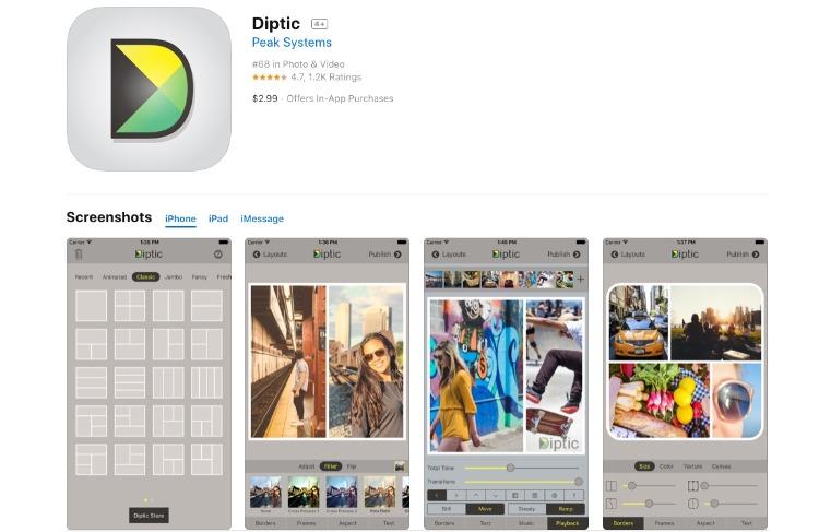 Diptic collage app