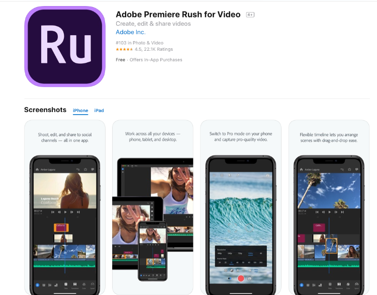 Adobe Premiere Rush for Video - Best Video Editing App
