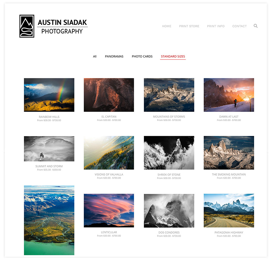 Landscape Photography Print Store on Pixpa
