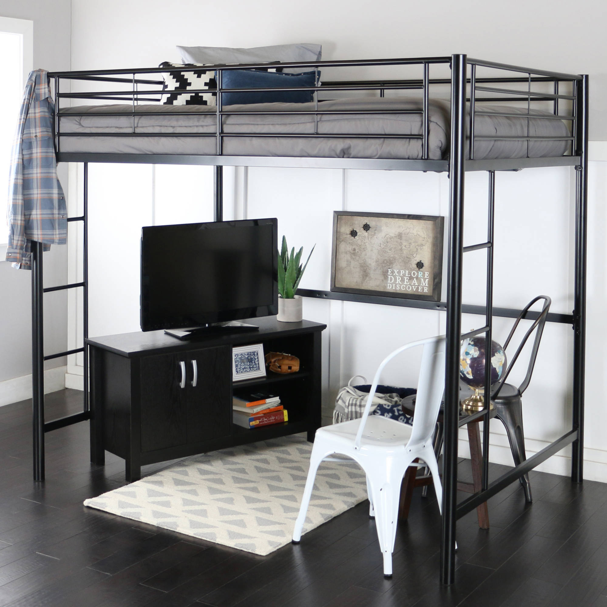 Full Size Black Metal Loft Bed