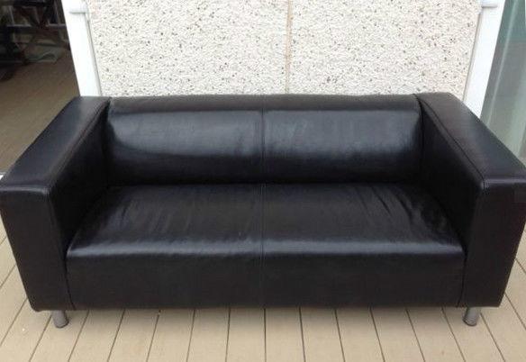 Black Ikea Klippan Leather Sofa