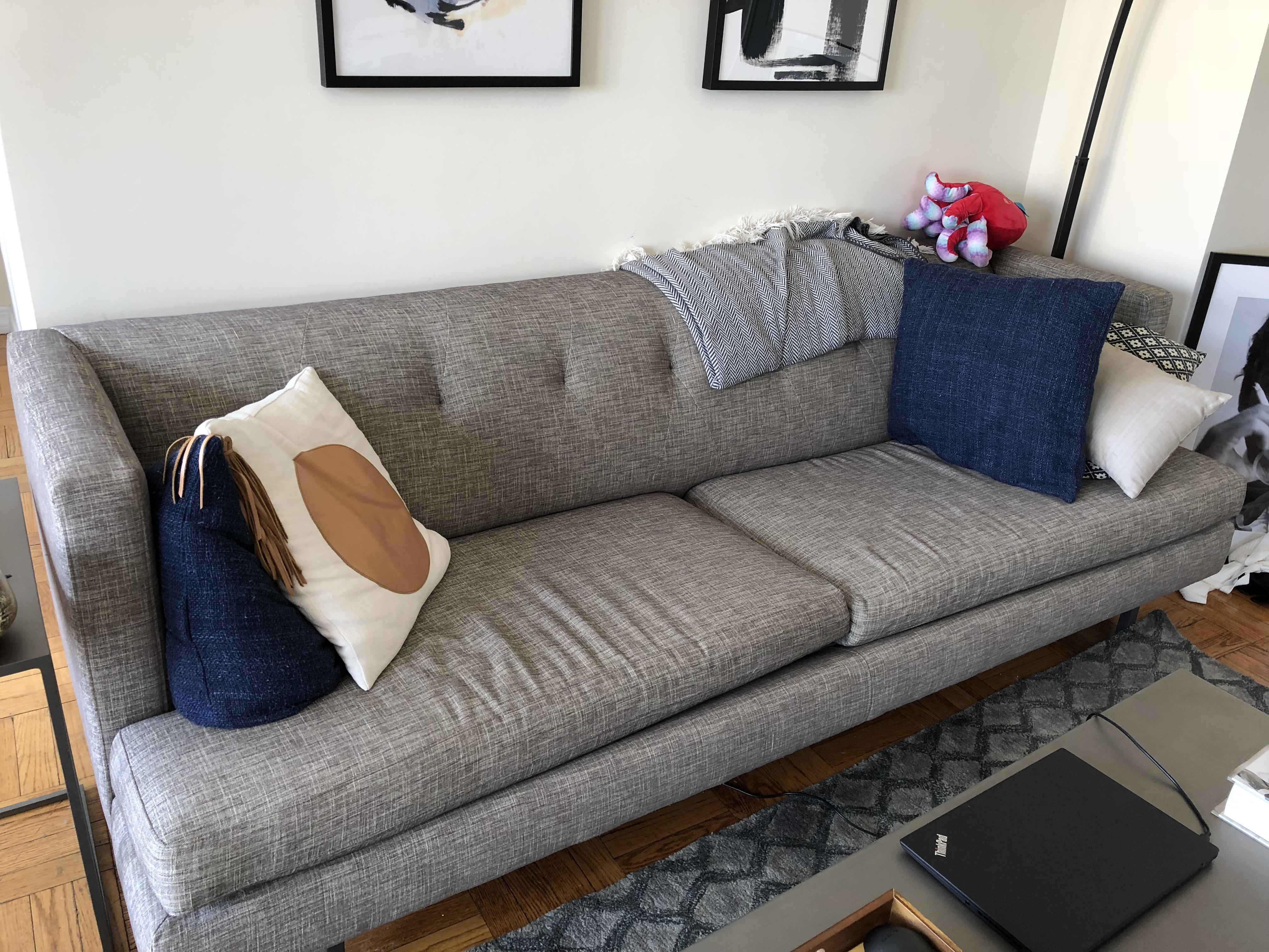 Astounding Cb2 Avec Grey Sofa W Brushed Stainless Steel Legs Creativecarmelina Interior Chair Design Creativecarmelinacom