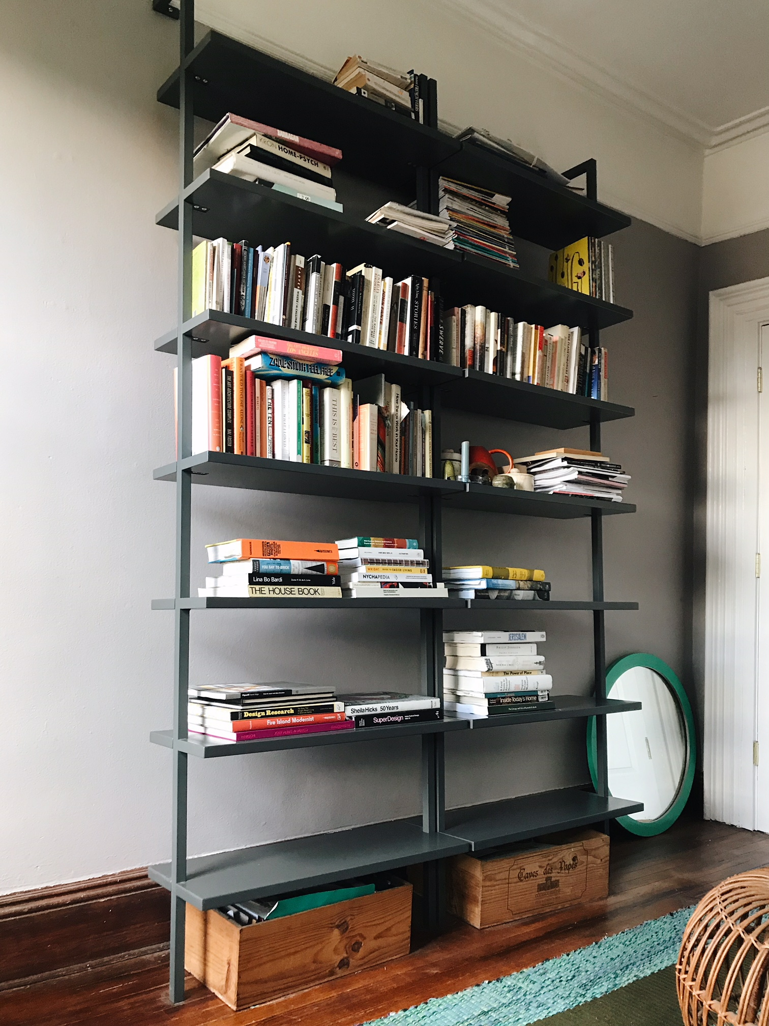 Stairway Black 96 Wall Mounted Bookcase Marcuscable Com