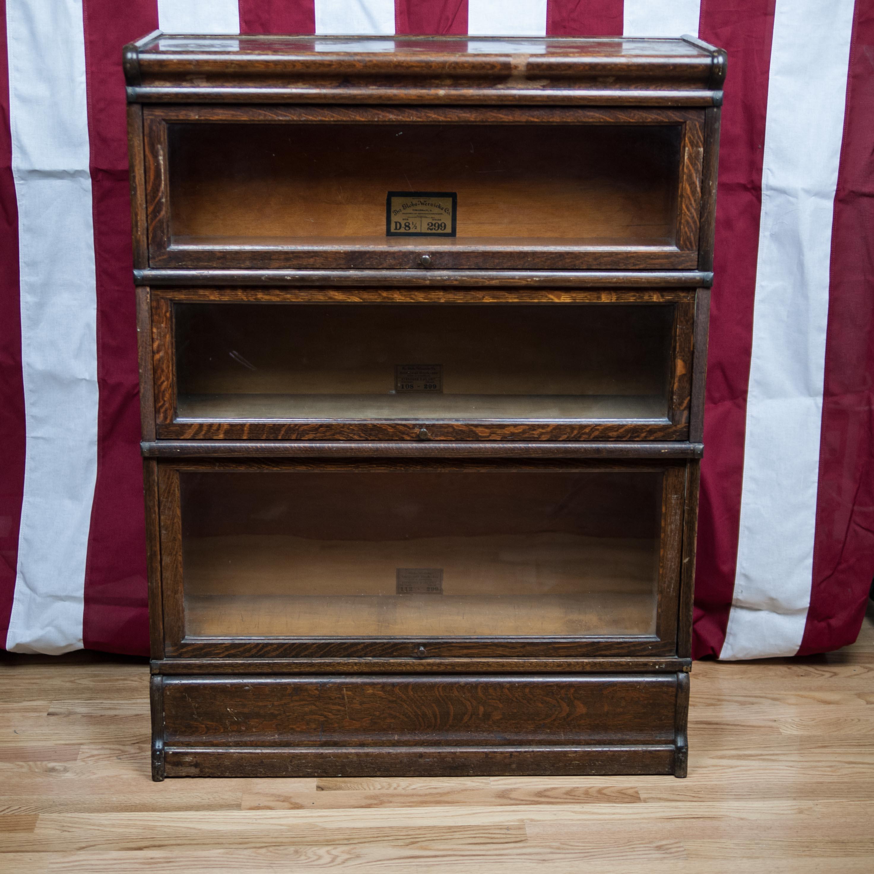 Antique Globe Wernicke Oak Barrister Bookcase
