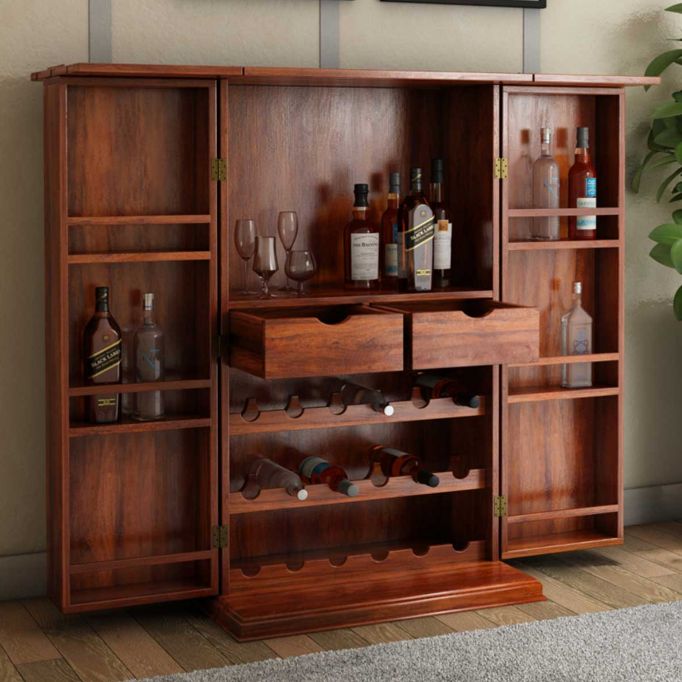 Wisconsin Expandable Solid Wood Bar Cabinet