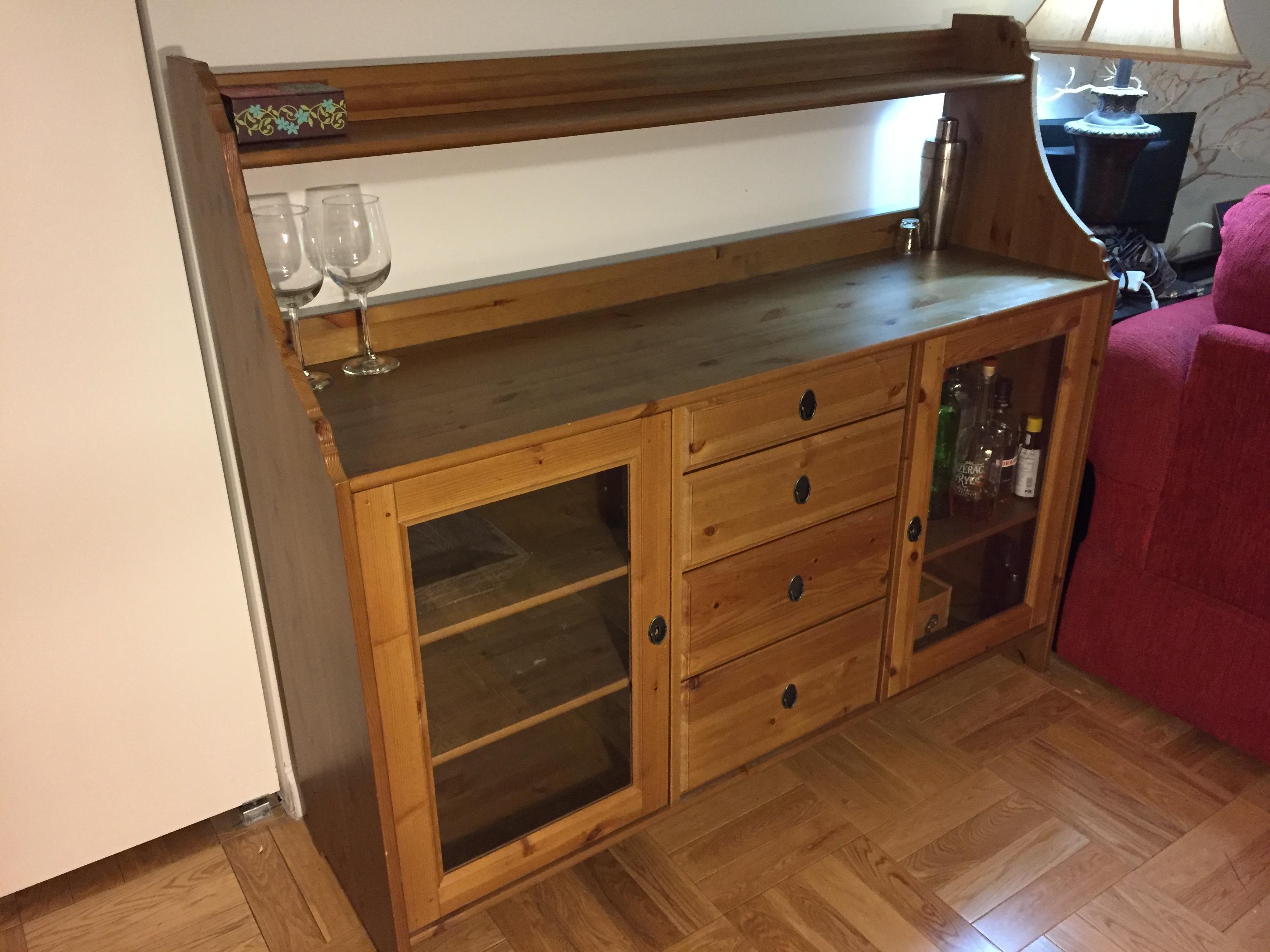 Credenza Ikea Leksvik : Ikea leksvik pine sideboard buffet cabinet apartment therapy