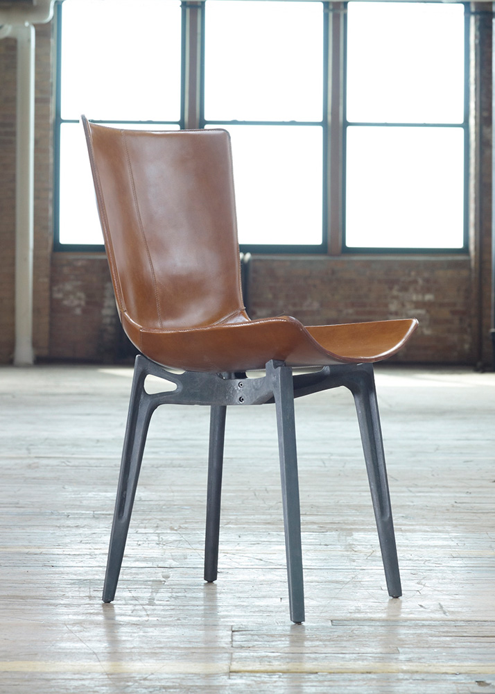 Marvelous Saddle Leather Dining Chair With Cast Metal Base Ibusinesslaw Wood Chair Design Ideas Ibusinesslaworg