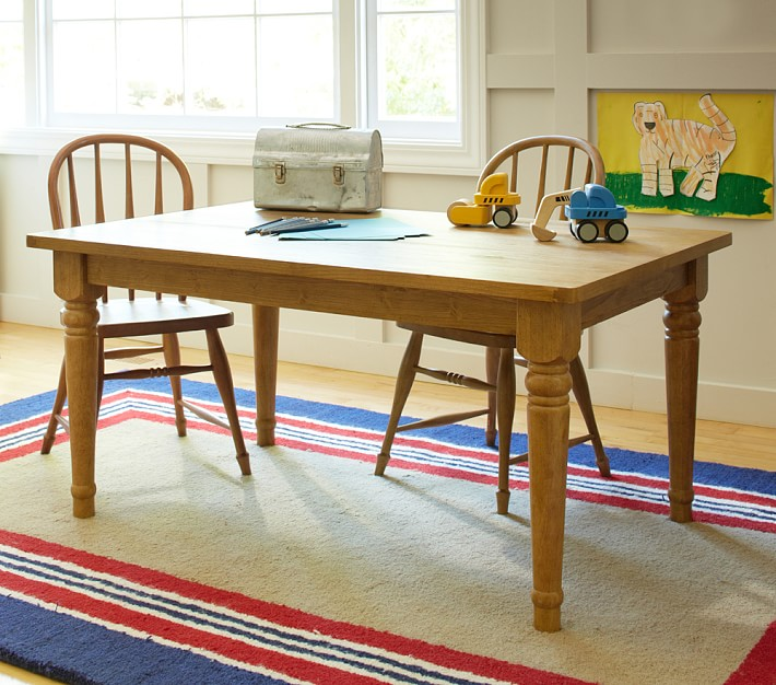 Farmhouse Style Table With Dark Red Base And Legs Apartment Therapy S Bazaar