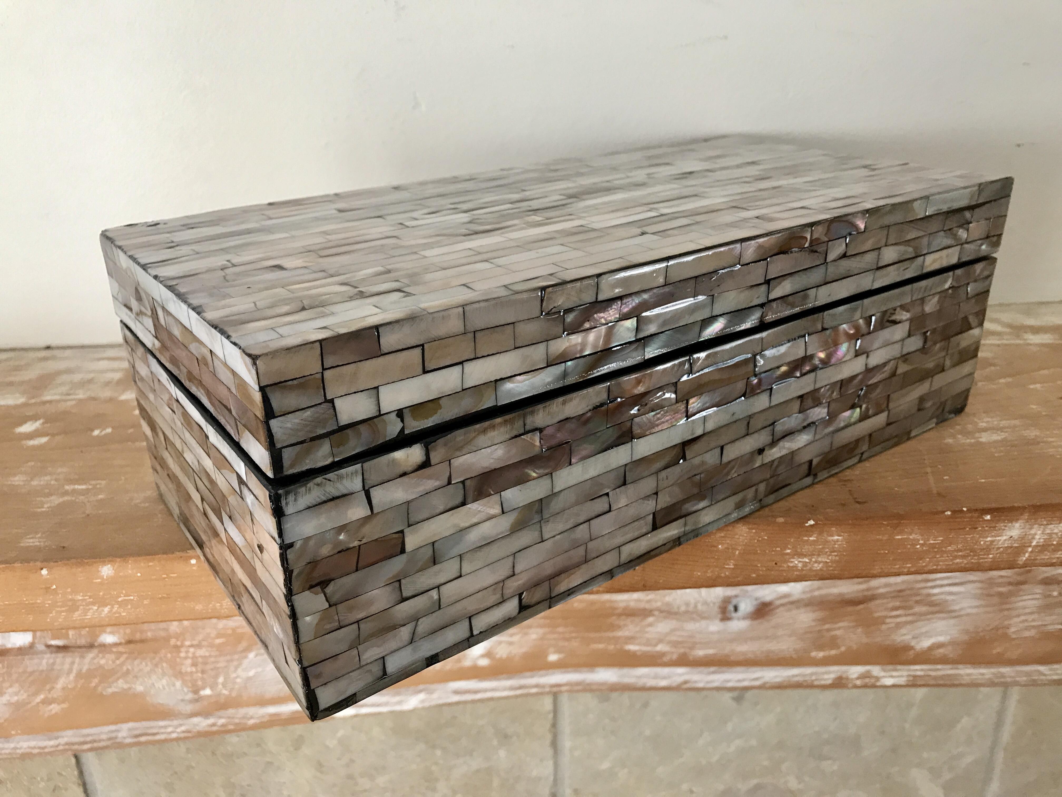Jewelry Trinket Box Mosaic Abalone Shell Apartment