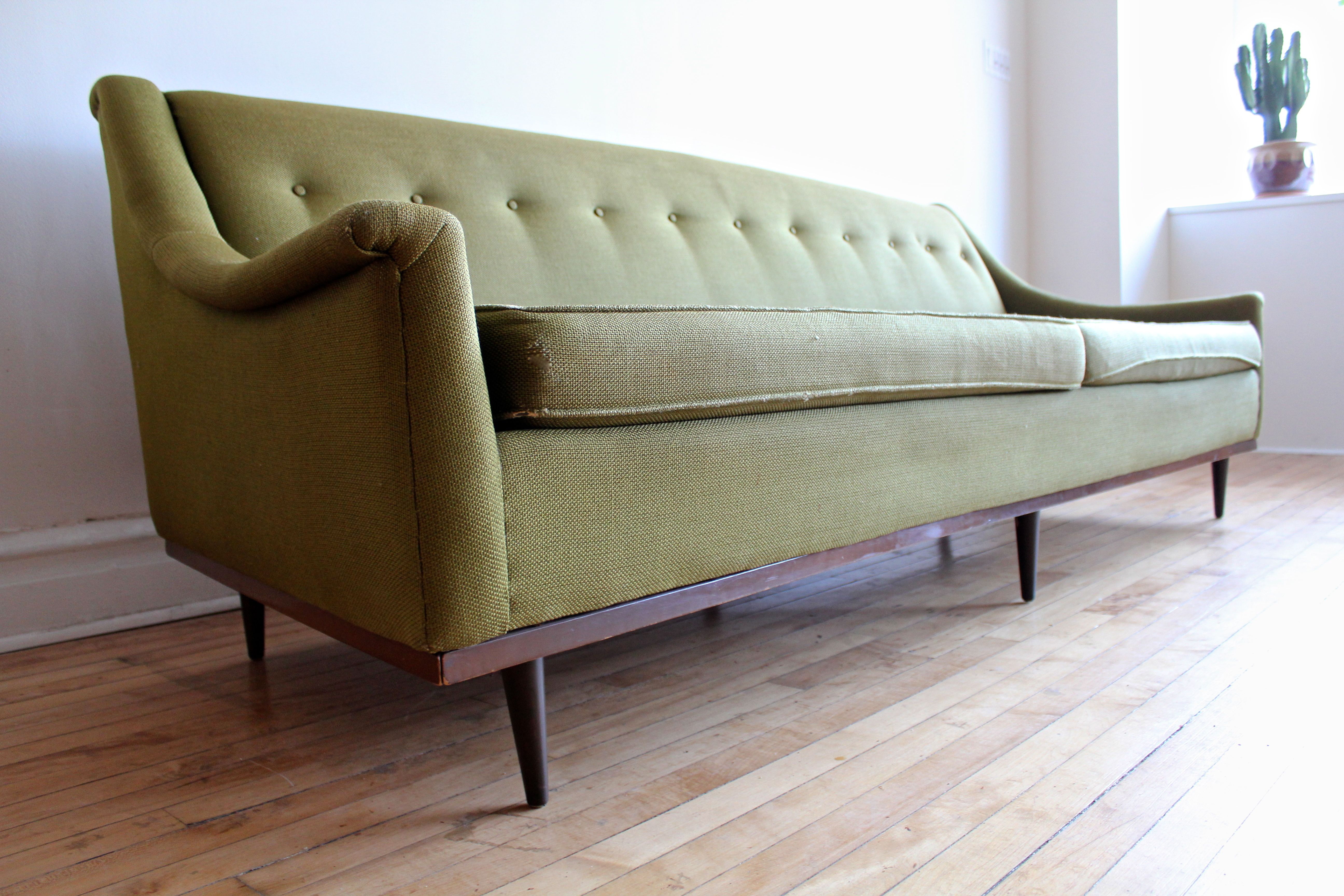 Mid Century Modern Green Tweed Sofa Apartment Therapy S