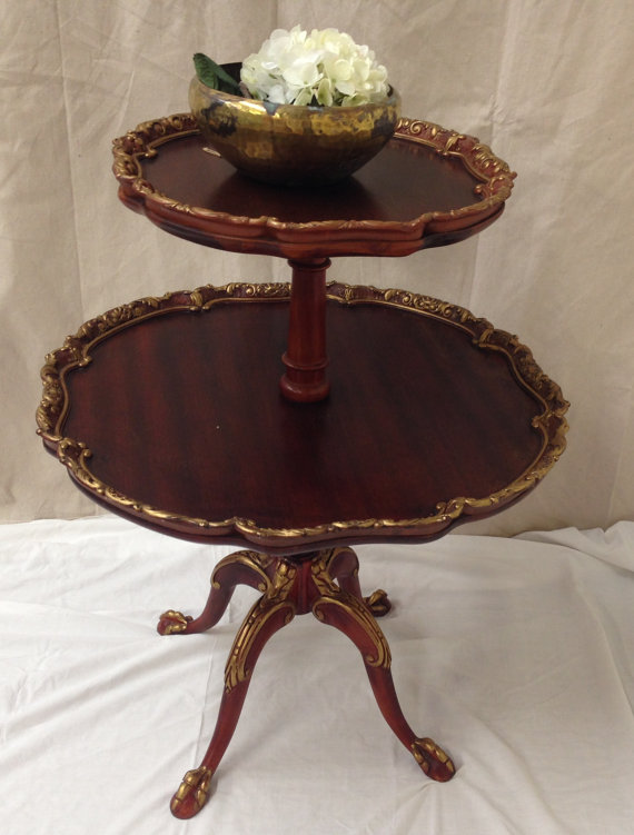 Pie Crust Table 2 Tier Side Table Antique Butler