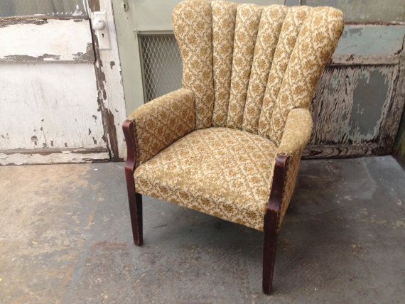 Antique Channel Back Chair Upholstered Arm Chair