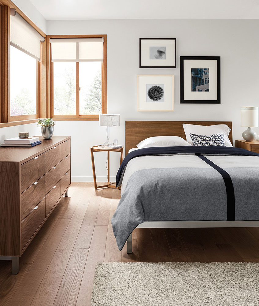 Room And Board Copenhagen Walnut Steel Bed Frame Apartment