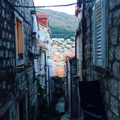 narrow street of old stone houses