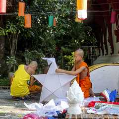 Monks getting ready for the festival