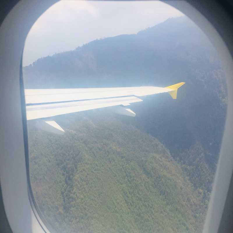 flying over Himalayan mountain range