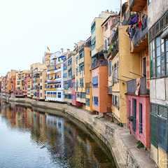 View of the colorful houses along Onyar River