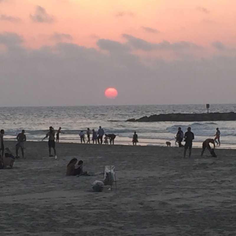 Sunset over Jerusalem Beach