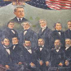 Painting depicting various American presidents and Philippine National Hero, Jose Rizal