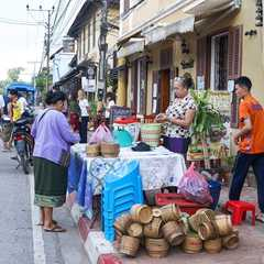 Selling sticky rice for alms giving