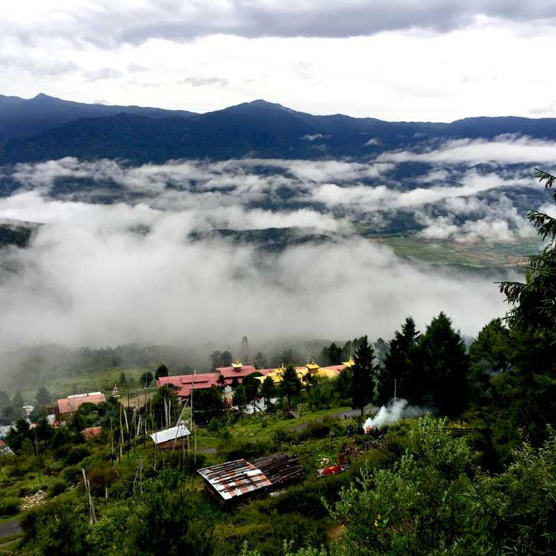 Tharpaling monastery in the clouds