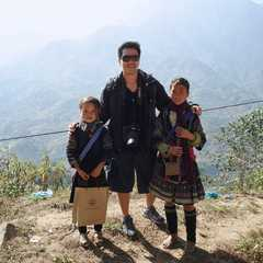 with San and La during the trek to Ta Van Village