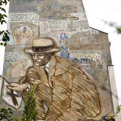 Monumental fresco of a detective by Jean Le Gac. 1986