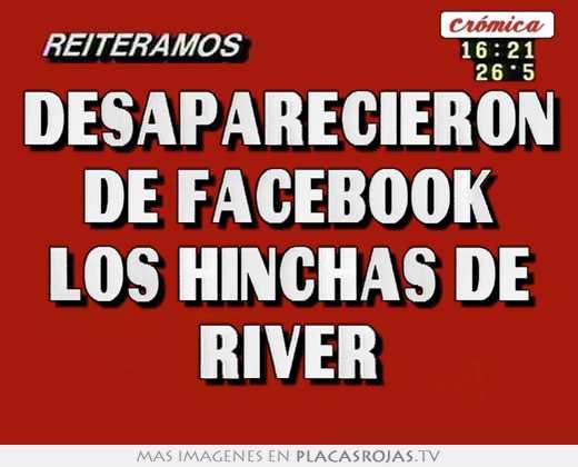 Desaparecieron de facebook los hinchas de river