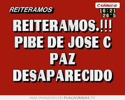 Reiteramos Pibe De Jose C Paz Desaparecido Placas